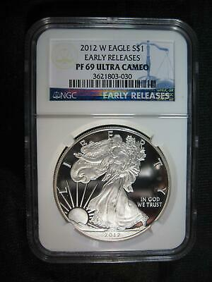 2012 W MINT PROOF Silver American EAGLE NGC PF 69 ULTRA CAMEO - Blue Label