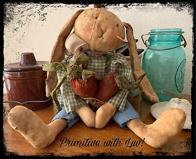 Primitive Bunny Rabbit Doll with Carrots, Easter Spring, country