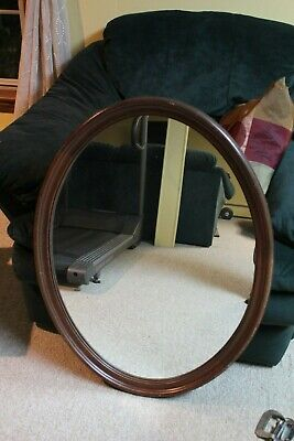 Antique Vintage Mahogany Wood Beveled Wall Mirror from early 1900's - NICE!