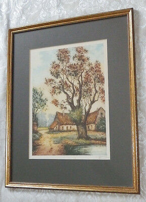 Antique Framed Etching by L. Bouvray Country Home by Water Edward Gross Co. VTG