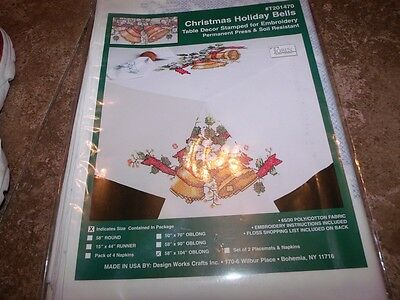 "Tobin Stamped Tablecloth HOLIDAY Bells 58"" x 104"" Cross Stitch & Embroidery"
