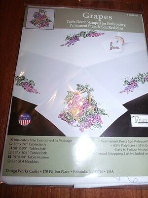 """Tobin Stamped Embroidery GRAPES GRAPEVINE 15"""" x 44"""" Table Runner Dresser Scarf"""