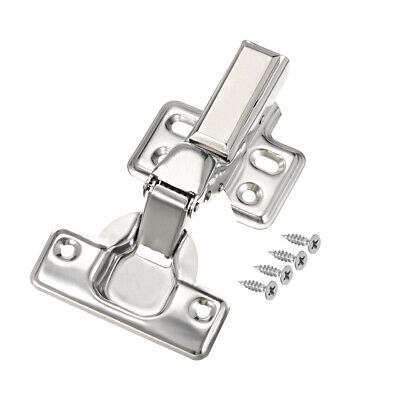 201 Stainless Steel Face Frame Concealed Cabinet Inset Door Hinges w Cover 2pcs