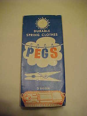 Vintage 3 dz Durable Spring Clothes Pegs unopened in original package 40's 50's?