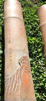 Qing Chinese Exquisite Hand-carved Bamboo Landscape Plagues Poem scroll