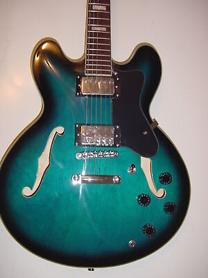New Semi Hollow Body Electric Guitar Memphis Jazz 6 String Blue with Gig Bag