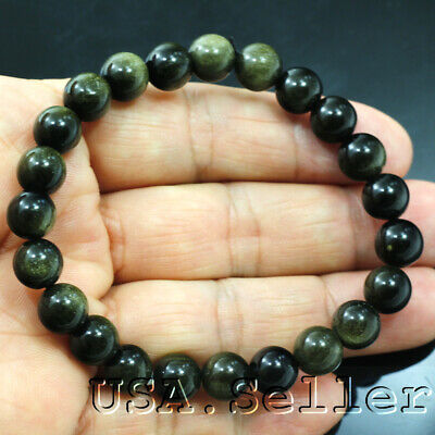 "78CT100% of Nature Obsidian round  beads bracelet 7mm 6.25"" D888"