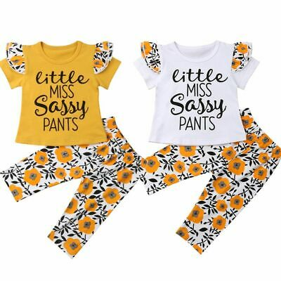 Kids Clothes Baby Flower Sassy Short Sleeves Tops T-Shirt Pants Leggings Outfits