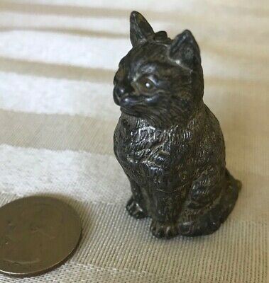 ANTIQUE c1800's  figural CAT w/ COLLASPABLE TAIL tape measure NOVELTY SEWING