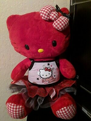 NEW Build A Bear HELLO KITTY Red Gingham Heart Plush with outfit + gift card