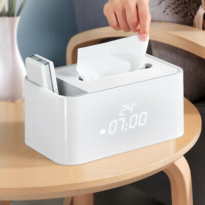 Electronic Alarm Clock Tissue Tray Living Room Remote Control Storage Household