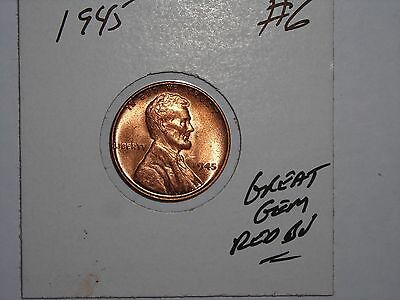 wheat penny 1945 LINCOLN CENT 1945-P GEM RED BU LOT #6 SHARP RED UNC FREE S/H