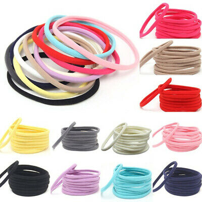 10Pcs Solid Nylon Elastic Soft Headband Baby Toddler Girls Women Hairband Loop