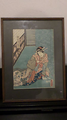 Antique Old Japanese Woodblock Print -Utagawa Toyokuni ( 歌川豐國, 1769 -1825)