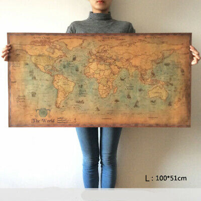 World map nautical ocean map vintage kraft paper poster wall chart sticker B