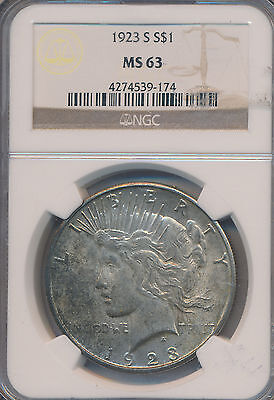 1923-S Peace Silver Dollar -Stunning Coin! **ngc Certified Ms63** Free Shipping!