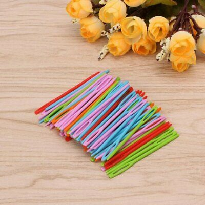 100 Pcs Plastic Colorful Sewing Needles for Kids Craft and Needle ProjecH6