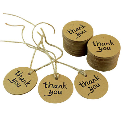 Outop 100PCS Thank You Wedding Brown Kraft Paper Tag Bonbonniere Favor Gift Tags
