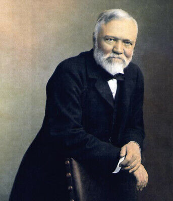 """Hand Painted Portrait Oil Painting On Canvas : """"Andrew Carnegie"""" 20603"""