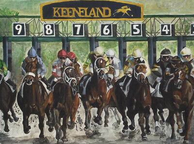 """Hand Painted Oil Painting On Canvas : """"race Horse"""" 85654"""