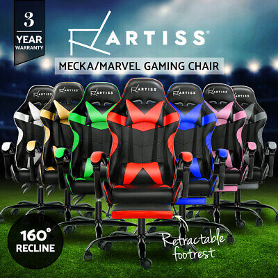 Artiss Gaming Office Chairs Computer Desk Seating Racing Recliner Racer Black