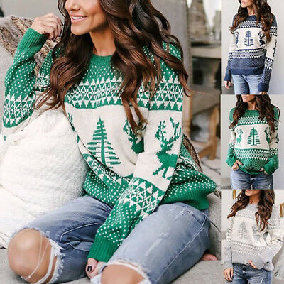 Women Long Sleeve Sweater Blouse Ladies Knitted Christmas Jumper Pullover Top AU
