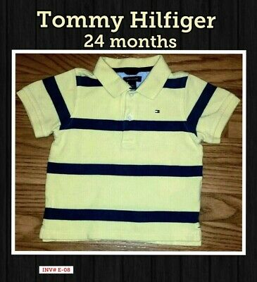 Tommy Hilfiger 24 Month Short Sleeve yellow -blue Striped Polo/Rugby Style shirt