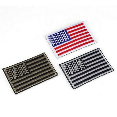 American Flag Embroidered Patch Iron-On Border USA United States America