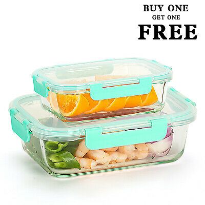Glass Lunch Containers (Buy 1 Get 1 Free) Food Storage Container with Lids