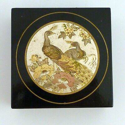 Japanese Lacquer Box With Inlaid Circular Mixed Metal Disc