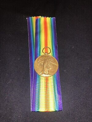 WWI BRITISH 1914-1919 ORIGINAL VICTORY MEDAL w/ RIBBON - SOLDIERS NAME ENGRAVED