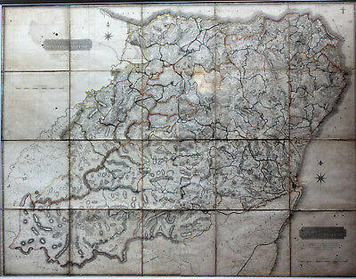 1826 Old Antique 19th Century Map Aberdeen Banffshire Scotland Rare V Large