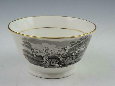 """6 1/2"""" Staffordshire Black Transfer Mixing Bowl Fallow Deer and Donkeys Ca 1810"""