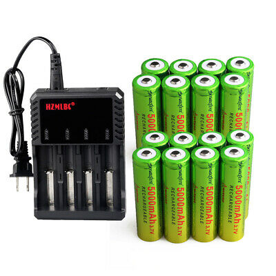 Skywolfeye 5000mAh 18650 Battery 3.7V Li-ion Rechargeable Batteries Charger Lot