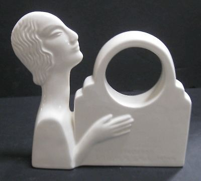 Nymph art deco white ceramic mantle clock case very old Japanese
