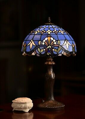 """Amazing Blue Baroque Style Stained glass Tiffany Bedside Table Lamp 20"""" Height"""