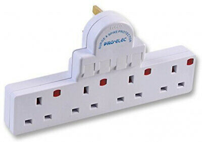 4 Way Gang Switched Multi Socket Extension Plug Surge / Spike Protector Adapter