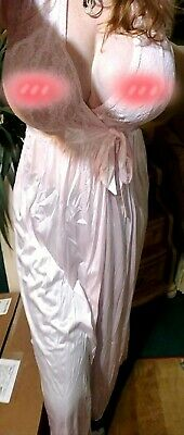 New Womens Large nightgown pink long lace VINTAGE empire waist Cinema Etolie
