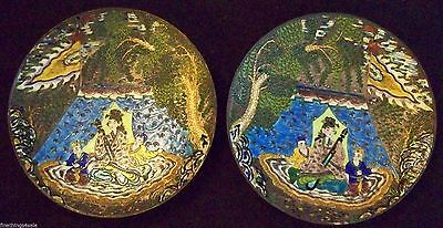 Fine Antique ~ Oriental Asian Cloisonne Enamel Charger Plate Set - Mirror Images