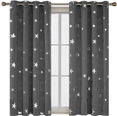 Blackout Kids Childrens Stars Curtains Bedroom Thermal Eyelet Ring Top Washable