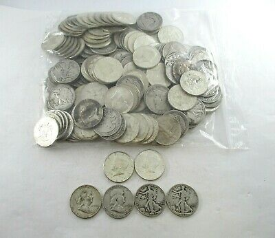 150 pieces of U.S. 90% Silver Half Dollar Coins Dated 1964-Before AG to XF FV$75