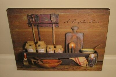 Kitchen Pantry Shelf Canvas PICTURE*Primitive/French Country/Farmhouse Decor*New