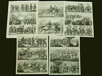 Ritter Schlacht Mittelalter Knights Battles Middle Ages, 5 Stahlstiche ca. 1870