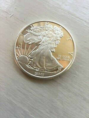 BU SMI Walking Liberty USA 1 Troy OZ .999 Fine  Silver Round