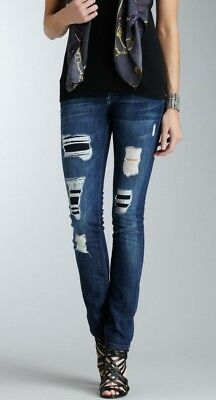 $198 7 For All Mankind Roxanne Skinny Leg in Destroyed Beverly Glen Size 28