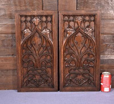 Pair of Antique French Gothic Revival Oak Wood Panels/Woodcarvings