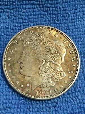 Beautiful Gold Toning on this 1921-P Morgan Silver Dollar AU+ Condition
