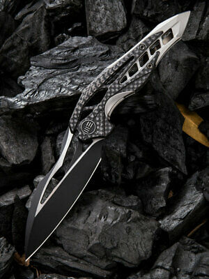 We Knife Arrakis Knife Gray Ti Carbon Fiber Handle Plain Black M390 906CF-D