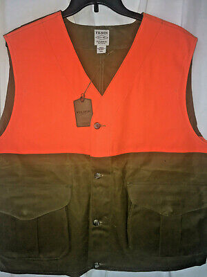 NEW FILSON Made in USA Blaze Orange Tin Cloth Upland Hunting Vest 3XL $225 1ST