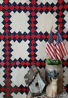Country Home Antique c1880s Red & Blue Irish Chain QUILT 76x72